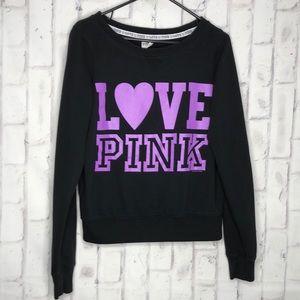 3/$25☀️Pink Victoria Secret Black Sweatshirt